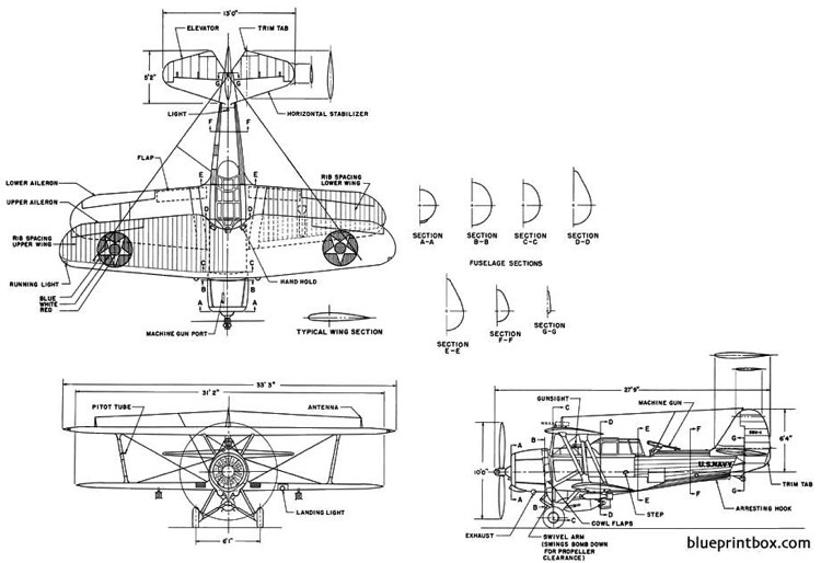vought sbu 1 model airplane plan