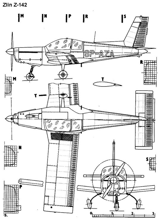 zlin142 3v model airplane plan