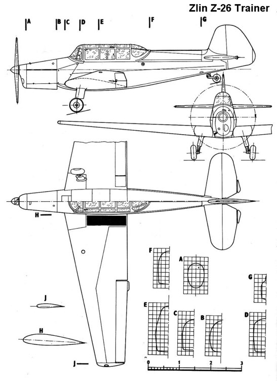 zlin26 3v model airplane plan