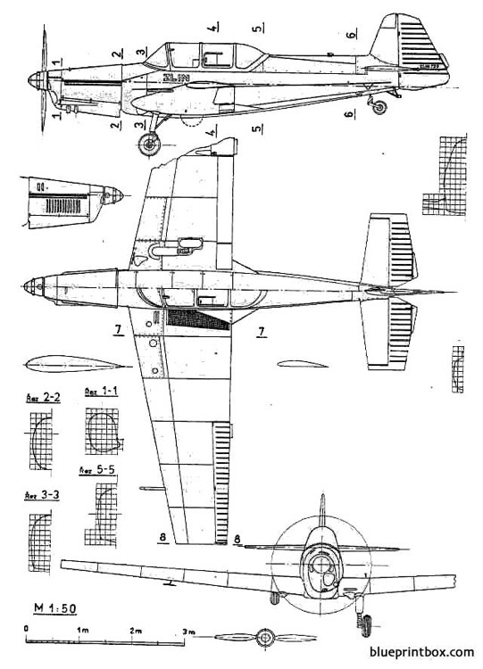 zlin z 726 universal model airplane plan