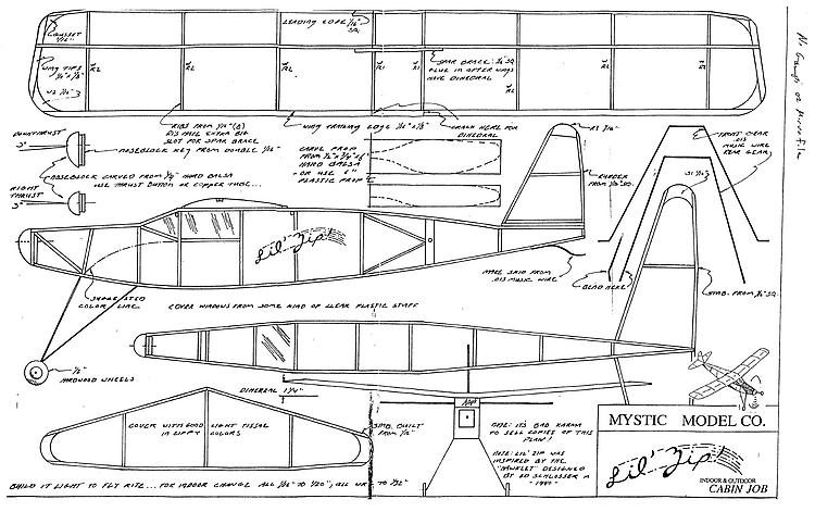 Little Zip model airplane plan