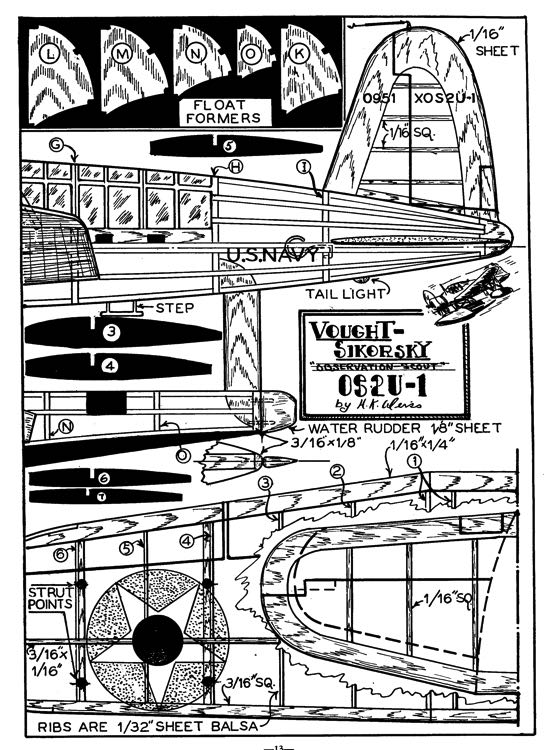 Vought Kingfisher p2 model airplane plan