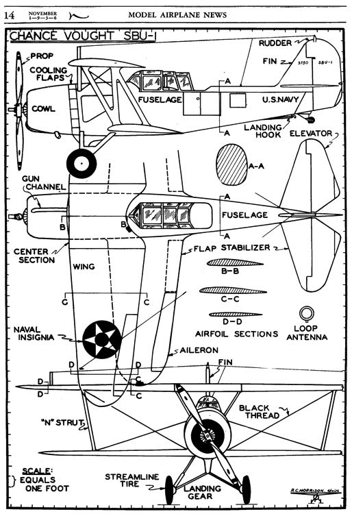 Vought SBU-1 3v model airplane plan