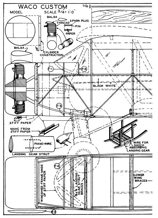 Waco Cabin p1 model airplane plan