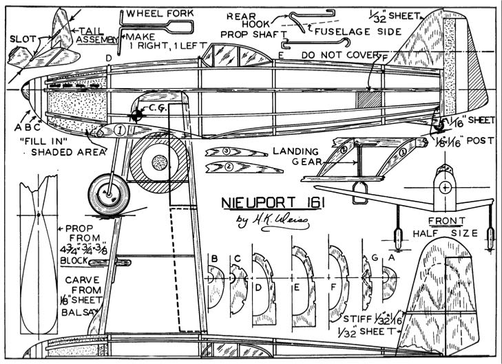Weiss Nieuport 161 p1 model airplane plan