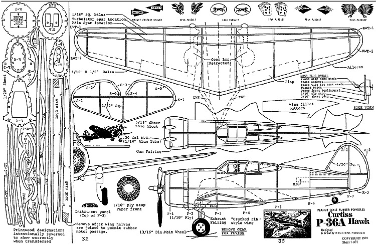 curtissp-36a-dn model airplane plan