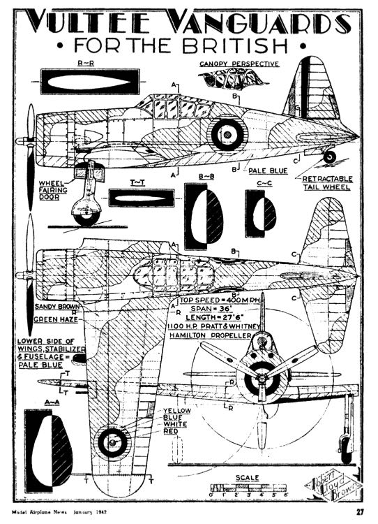 vultee 3v model airplane plan