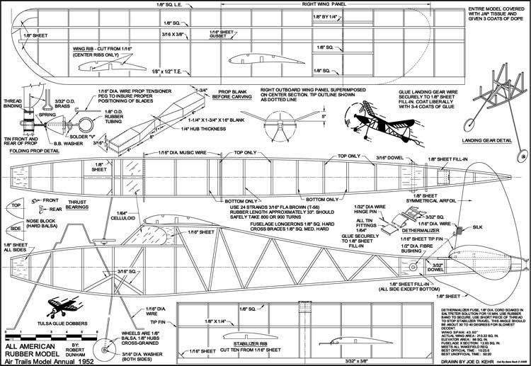 All American Rubber Model model airplane plan