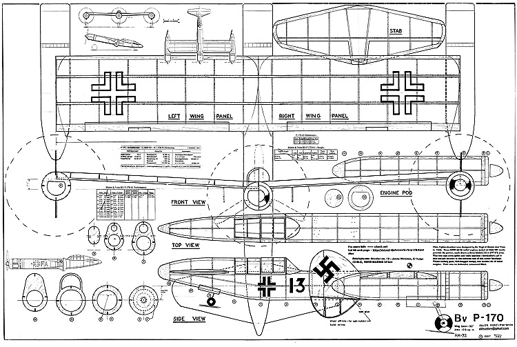 BV P-170 model airplane plan