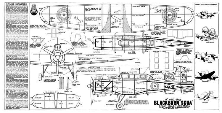 Blackburn Skua 2 model airplane plan