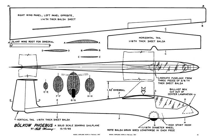 Bolkow Phoebus model airplane plan