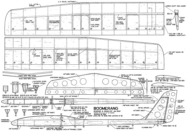 Boomerang 78in model airplane plan