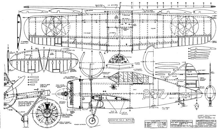 Brewster F2A-2 Buffalo model airplane plan