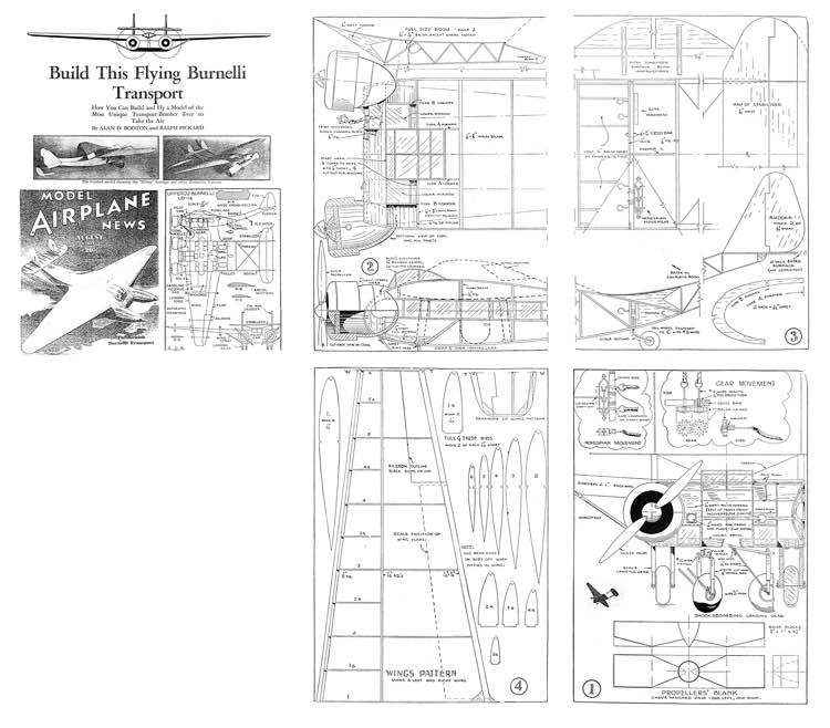 Burnelli twin MAN Dec 1937 model airplane plan