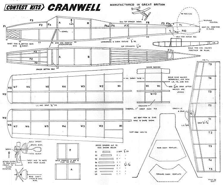 Cranwell Contest Kits model airplane plan