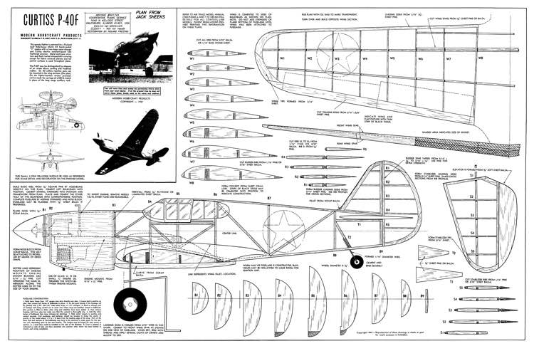 CurtissP-40F(2) model airplane plan