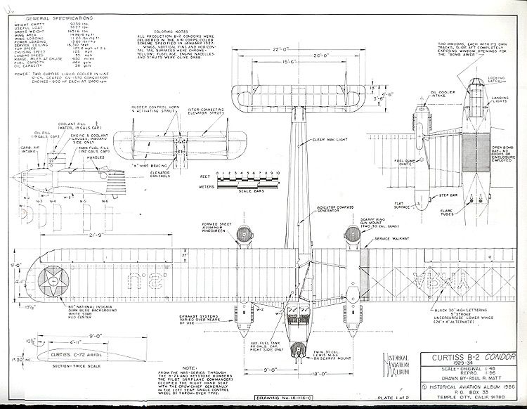 Curtiss B-2 Condor model airplane plan