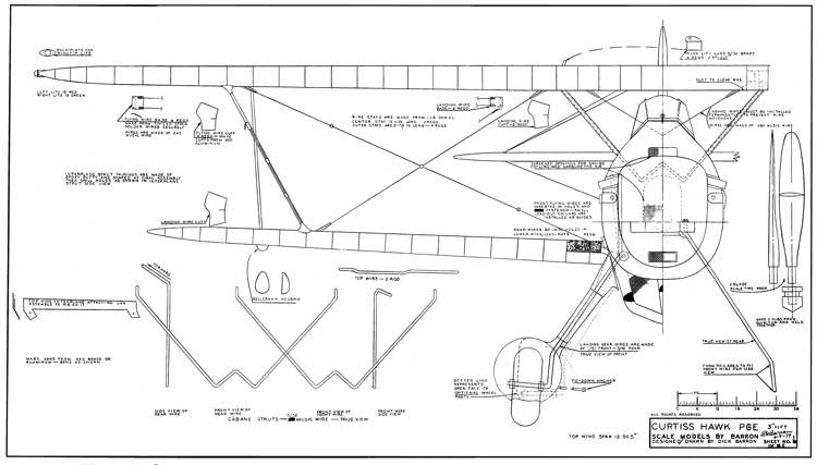 Curtiss Hawk P6E model airplane plan