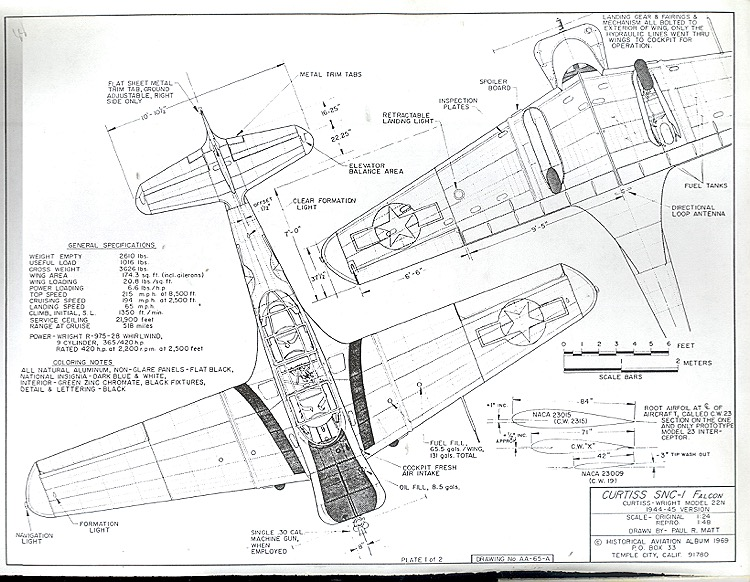 Curtiss SNC-1 Falcon model airplane plan