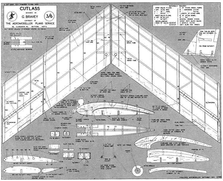 Cutlass Flying Wing model airplane plan