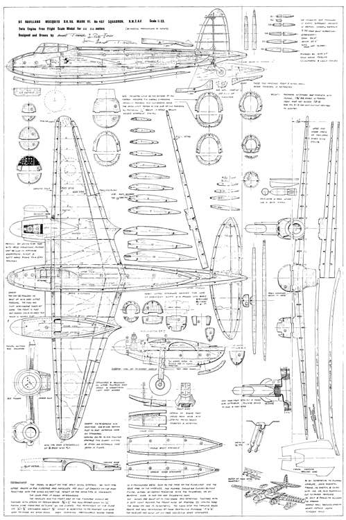 DH98 Mosquito 28in Astral model airplane plan