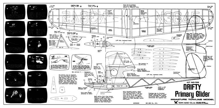 Drifty Primary Glider model airplane plan