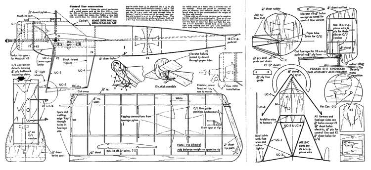 Eindekker model airplane plan