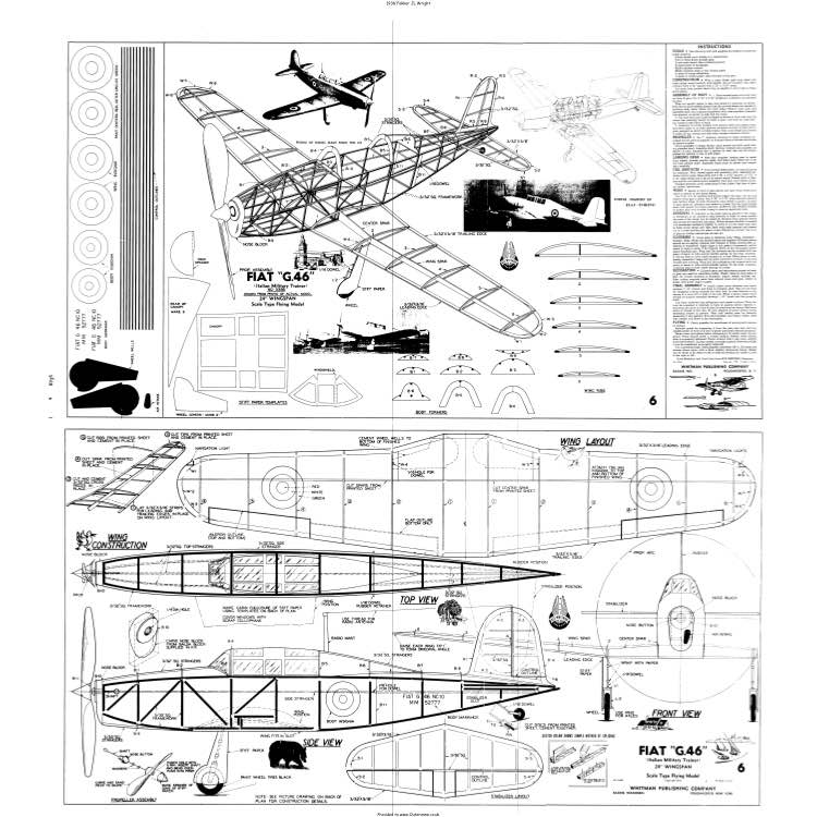 Fiat G.46 model airplane plan