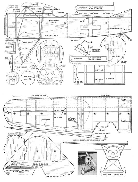 FokkerDVIII model airplane plan
