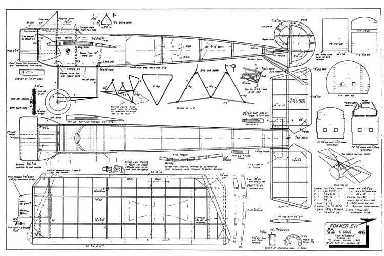 Fokker EIV model airplane plan