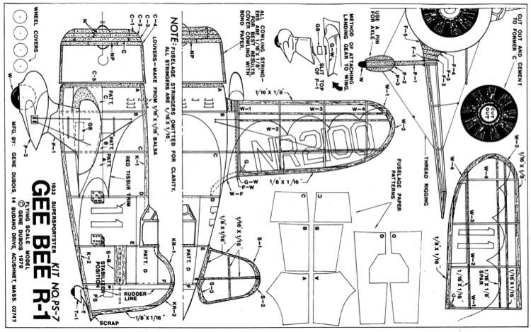 Gee Bee R-1 model airplane plan