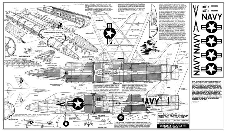 Grumman F11F-1 Tiger model airplane plan