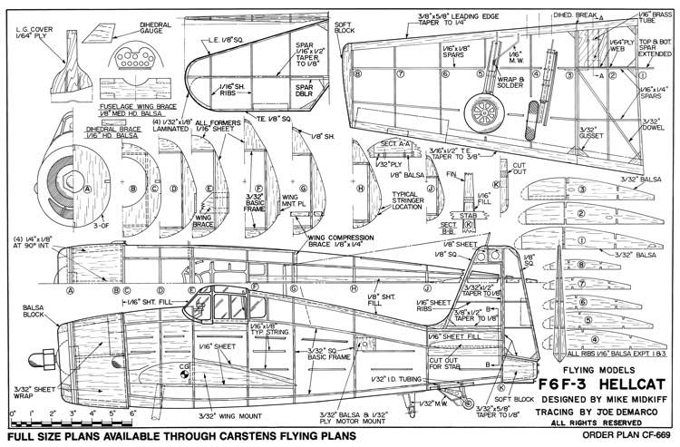 Grumman F6 F3 Hellcat-FM 06-84 model airplane plan