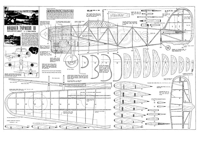 Hawker Typhoon 1B model airplane plan