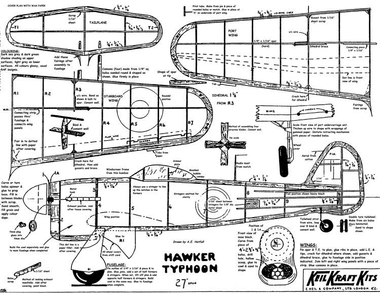 Hawker Typhoon 27in model airplane plan