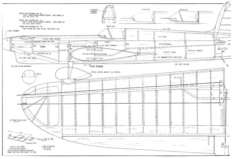 Kismet CL model airplane plan