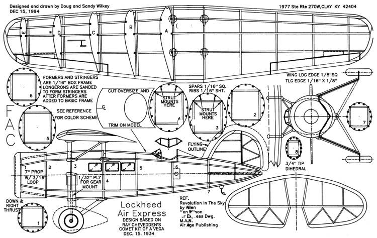 Lockheed Air Express model airplane plan