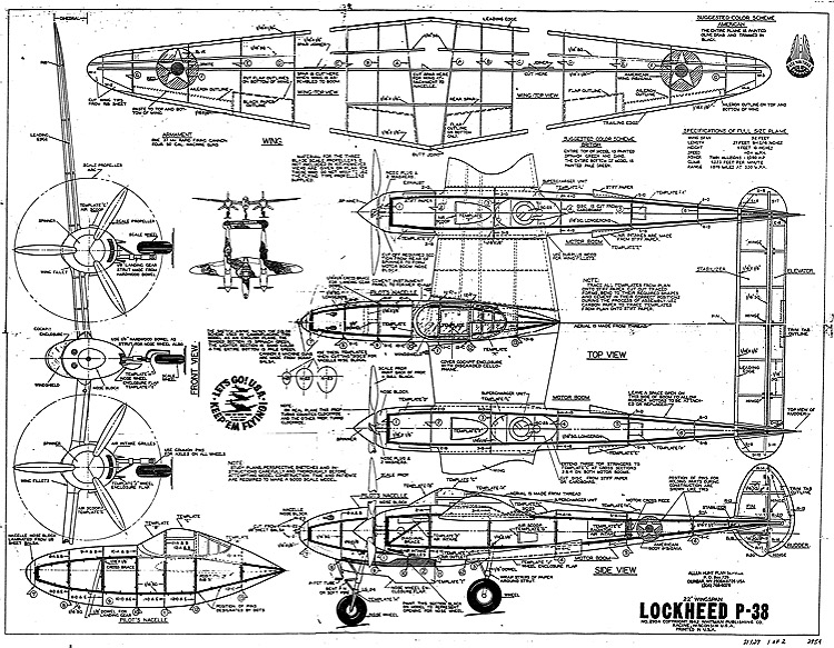 Lockheed P-38 - WhitmanAeroFred - Free Model Airplane Plans.