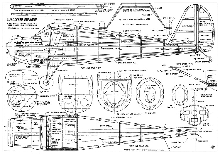 Luscombe Silvaire RC 54in model airplane plan