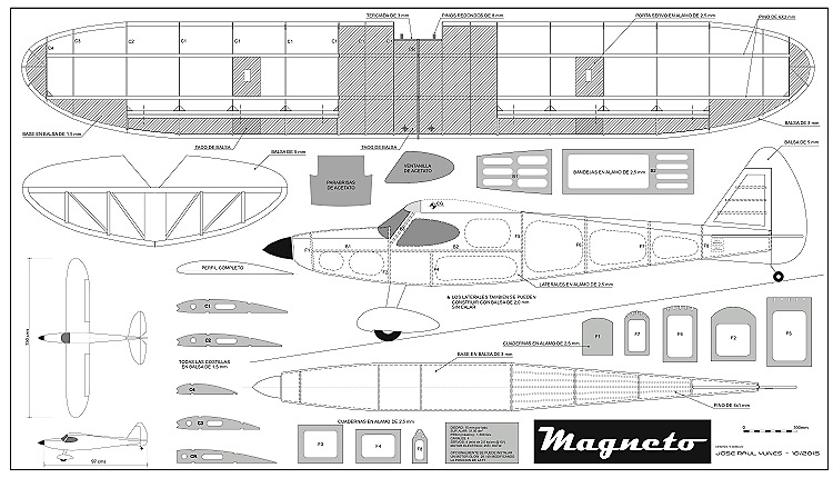 Magneto 150cm model airplane plan