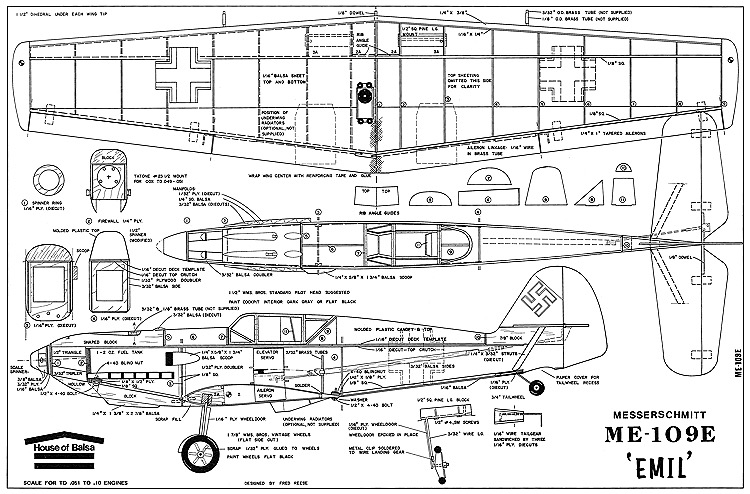 Me109e hob model airplane plan