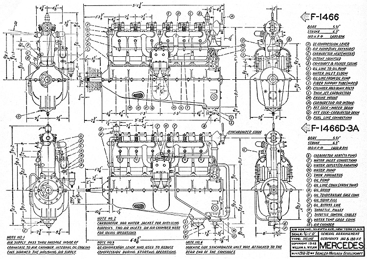 Mercedes Engine model airplane plan