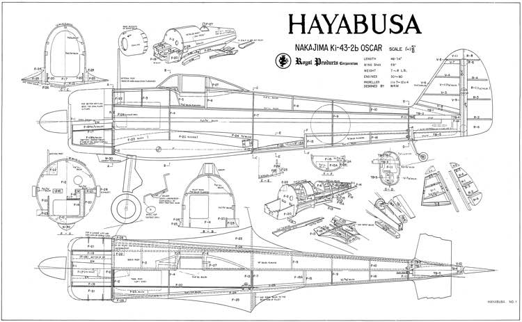 Nakajima Ki-43 model airplane plan