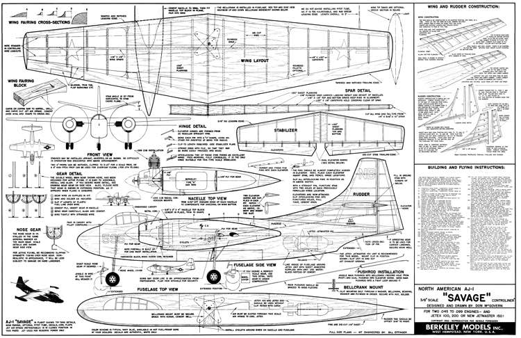 North American AJ-1 Savage model airplane plan