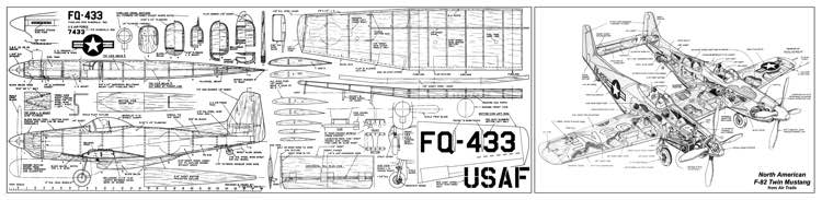 North American F-82 Twin Mustang model airplane plan