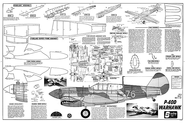 P 40d warhawk plans aerofred download free model for Sterling plan