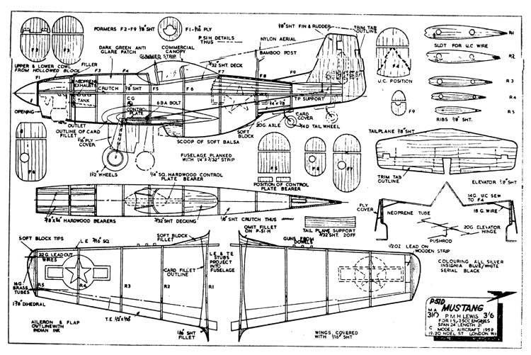 P51D-Mustang model airplane plan