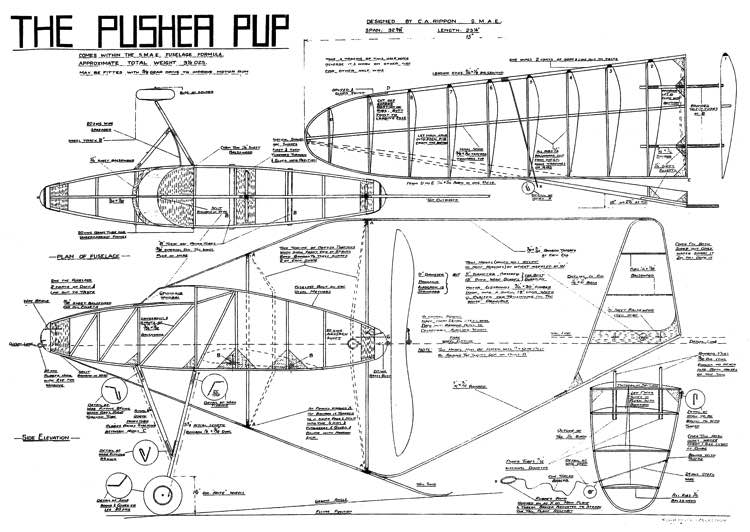 Pusher Pup 32in model airplane plan