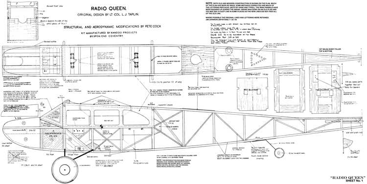 Radio Queen model airplane plan