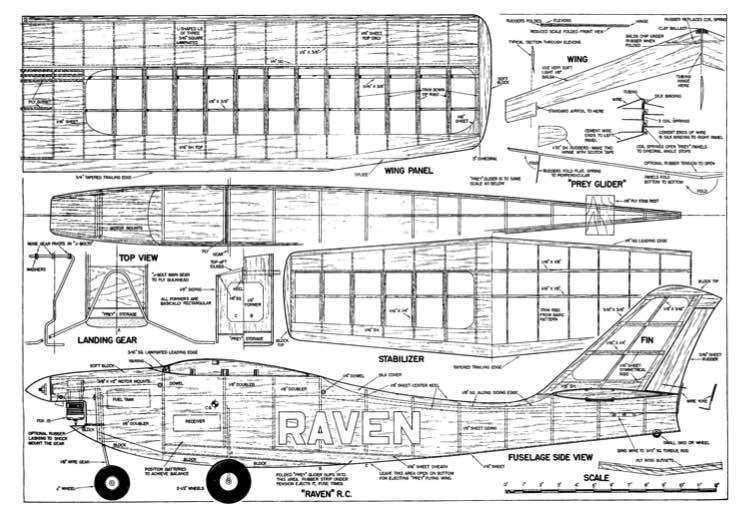 Raven RC With Prey Gilder model airplane plan